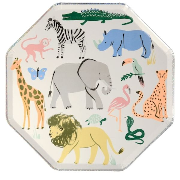 Grandes assiettes Animaux Safari x8 - Meri Meri Anniversaire jungle safari