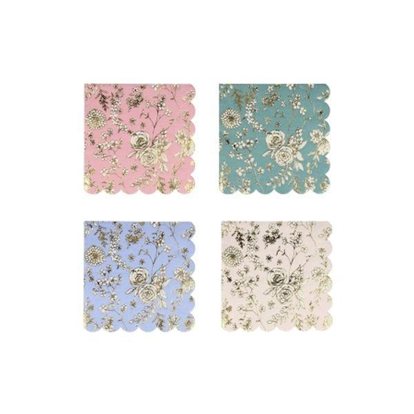 Petites Serviettes Jardin Anglais avec dorure x16 - Meri Meri