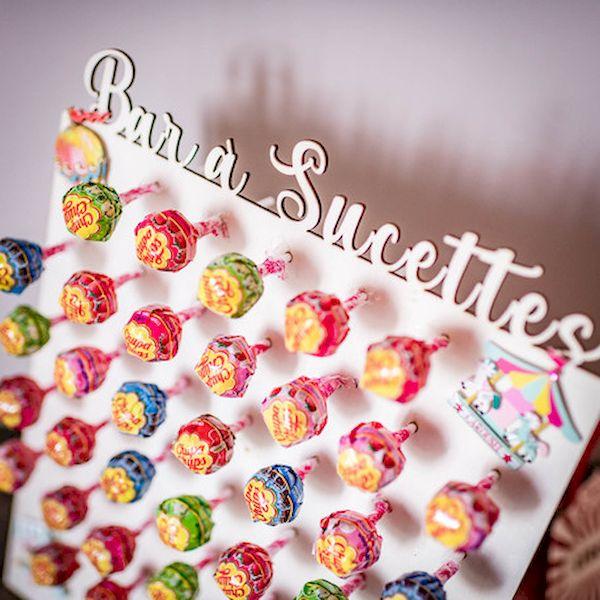 Présentoir Bar à sucettes en bois - 49 sucettes - 38x30 cm décoration candy bar