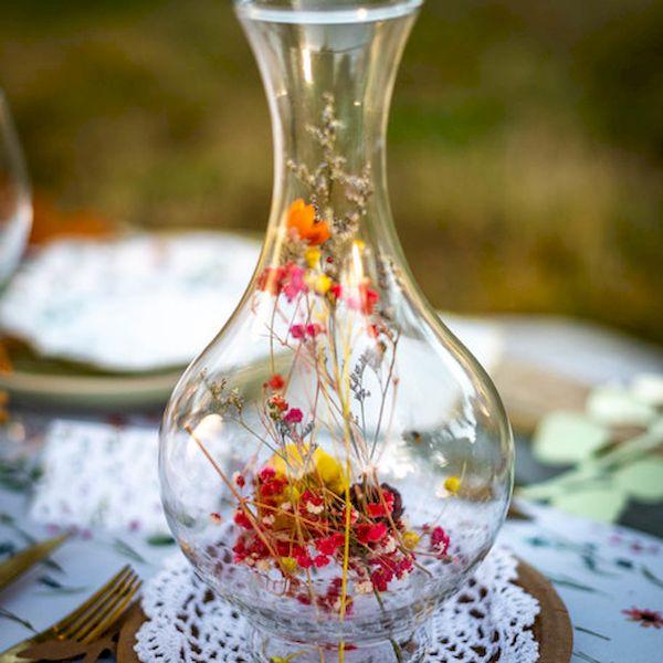 Vase Anna Fleurs sechées colorées - 14x27cm - Arty Fêtes décoration table fête