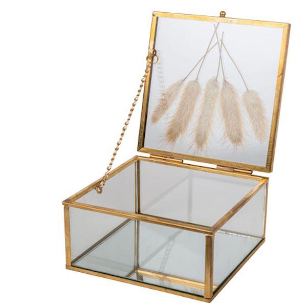 boite fleur séchées verre et or bohème champêtre vintage décoration de table