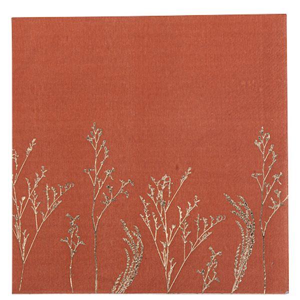 Serviettes brindilles Terracotta et or x16 - Arty fêtes factory décoration bohème mariage fête tendance