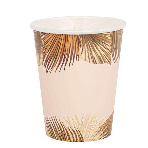 Gobelets feuille de palme Dégradé de sable et or x8 - Arty fête factory fête bohème tendance