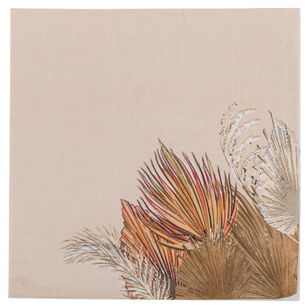 Serviettes feuille de palme Dégradé de sable et or x16 - 33cm décoration bohème fête anniversaire brunch
