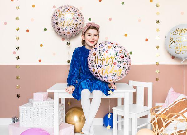 ballon rose poudré et doré dorure happy birthday fleurs hélium décoration anniversaire