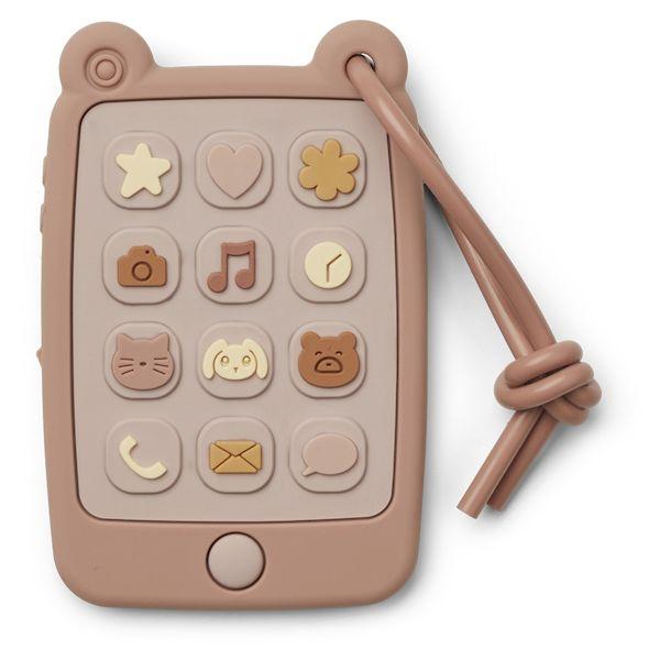 anneau de dentition souet smartphone chat rose liewood silicone