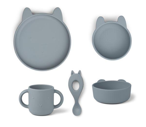 set de vaisselle en silicone vivi rabbit sea blue liewood cadeau de naissance repas bébé