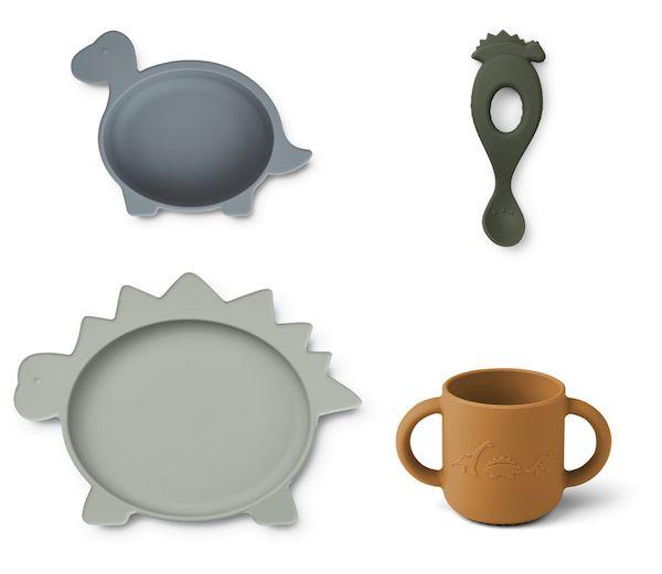 set de vaisselle liewood silicone cadeau naissance bébé dinosaure