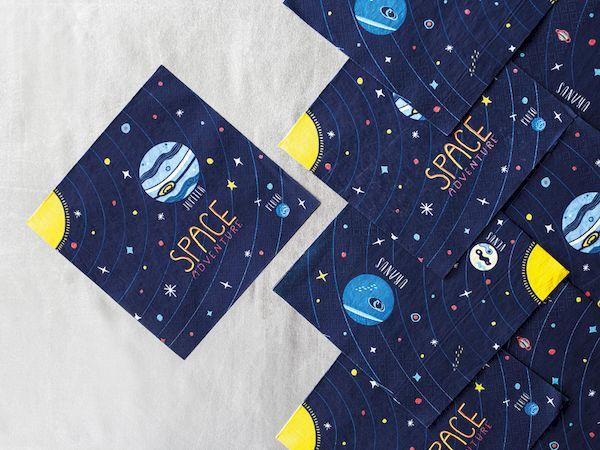 serviettes espace space party planètes décoration de fête anniversaire