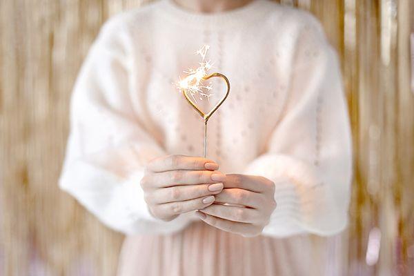 coeur scintillant doré bougie anniversaire