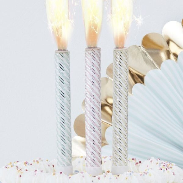 Bougies fontaine pastel x 3 - Ginger Ray décoration gateau anniversaire