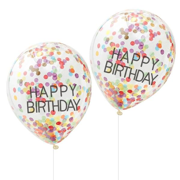 Ballon Happy Birthday confettis multicolores x 5 - Ginger Ray décoration anniversaire