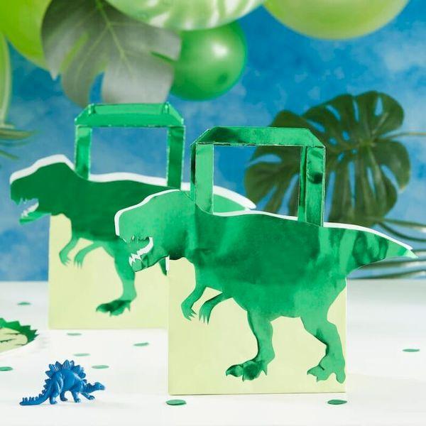 Sac cadeaux Dinosaure vert métallique x5 - Ginger Ray anniversaire garçon dinosaure