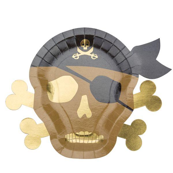 Assiettes Pirate kraft noir et or x8 - 26 x 33 cm