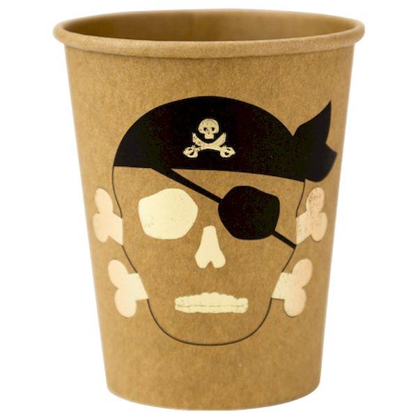 Gobelets Pirate kraft noir et or x8 - 25 cl