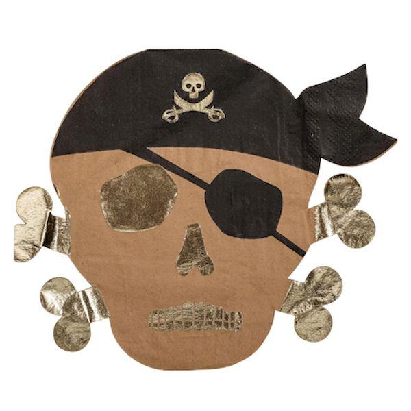 Serviettes Pirate kraft noir et or x16 - 33 cm