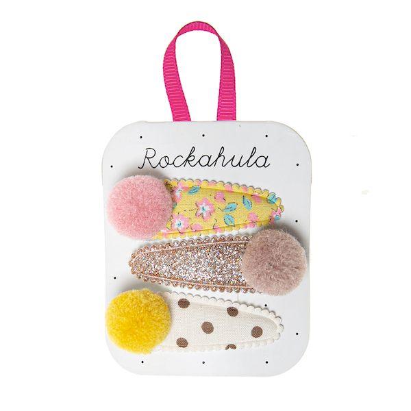 Barrettes Blossom pompon x 3 Rockahula Kids accessoire fille