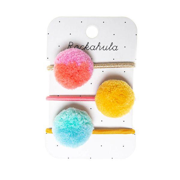 Élastiques pompons Candy rayés x4 - Rockahula Kids