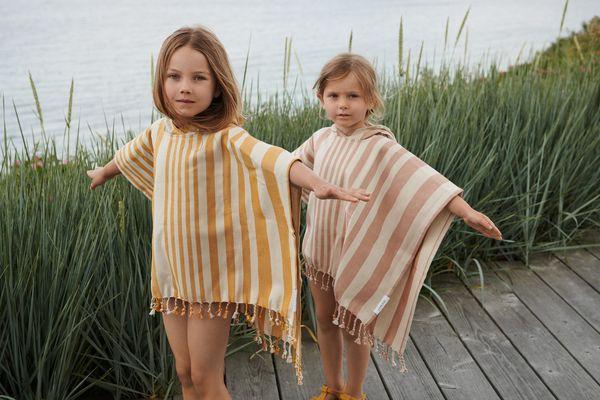 Poncho de bain Roomie rayé moutarde écru - 5 à 6 ans - Liewood