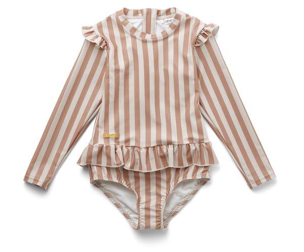 Maillot de bain à manches Sille rayé - Coral blush/creme de la creme - 18/24 mois - Liewood
