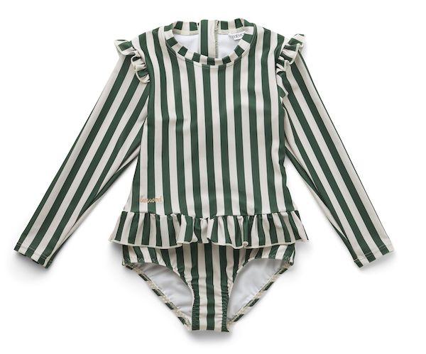 Maillot de bain à manches Sille rayé - Garden green/Sandy - 2/3 ans - Liewood