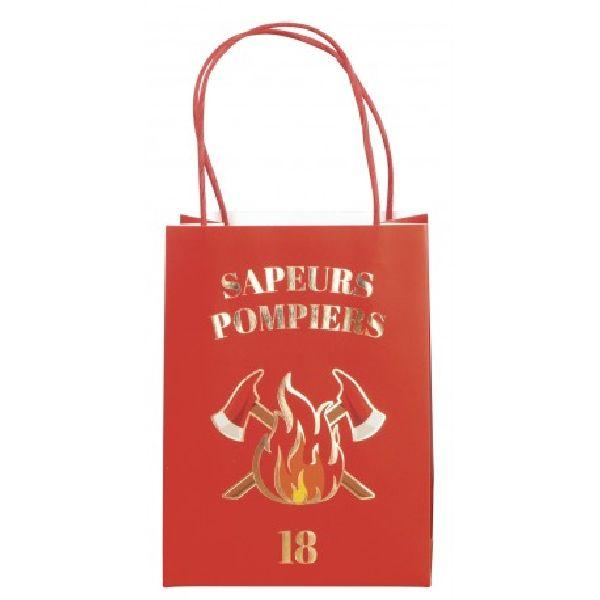 Sacs cadeaux papier Pompier x4