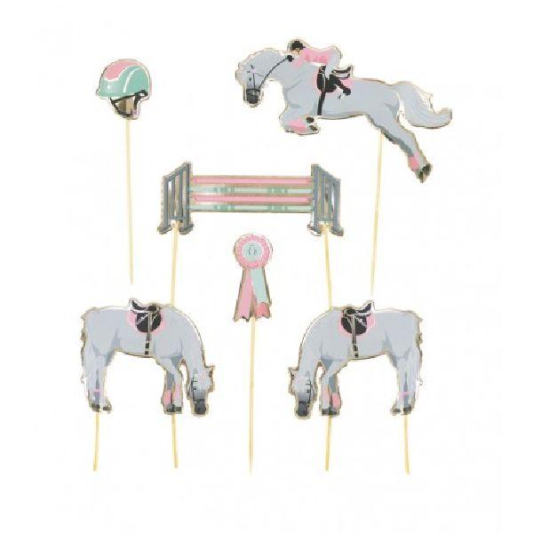 Set de 6 décorations Cheval d'amour pour gâteaux