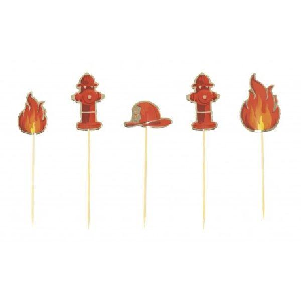 Set de 6 décorations Pompier pour gâteaux