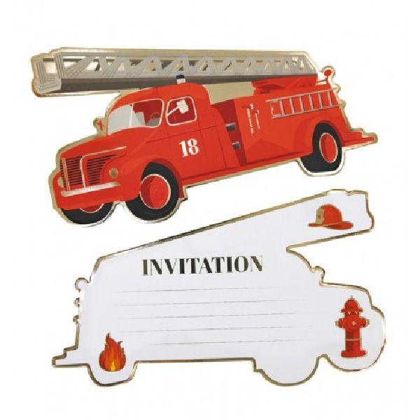 Set de 8 invitations Pompier