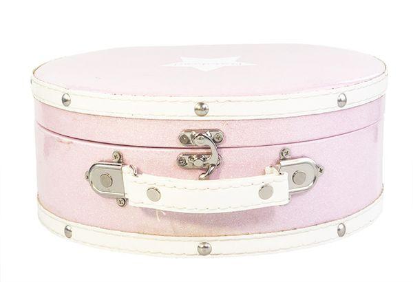 Valise ronde rose pailletée 25 cm - Ratatam!