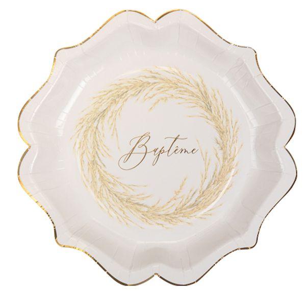 Assiettes Baptême Pampa blanc et or - 23 cm