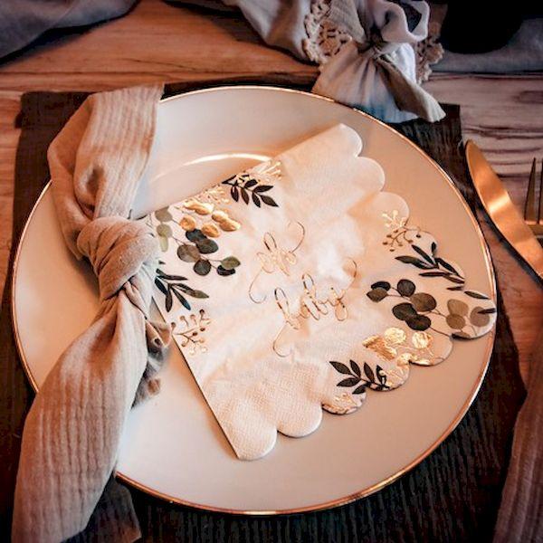 Serviettes Oh Baby blanc vert et or x16 - 33 cm