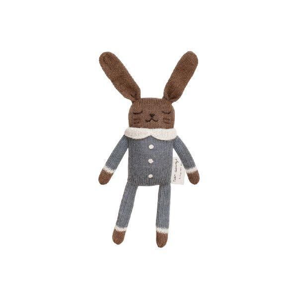 Doudou lapin combinaison ardoise - Main sauvage