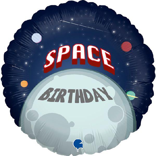 """Ballon Espace """"Space Birthday"""" 46 cm - Grabo"""
