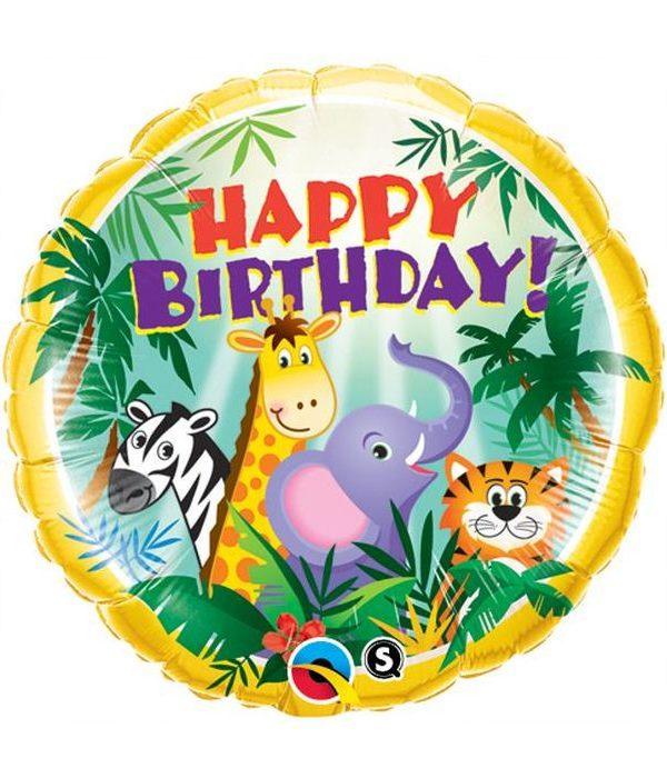"Ballon Jungle Friends ""Happy Birthday"" 46 cm - Qualatex"