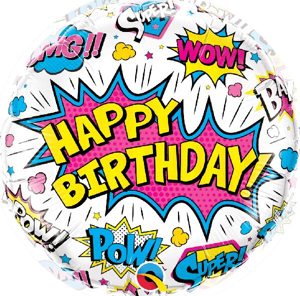 "Ballon Super-héros White ""Happy Birthday"" 46 cm - Qualatex"
