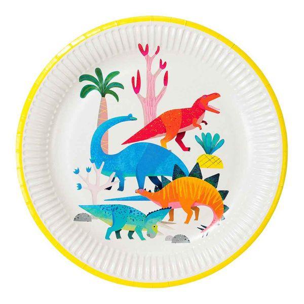 Assiettes Dinosaures en fête x8 - Talking Tables