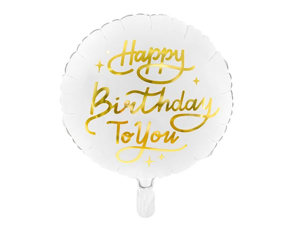 Ballon Happy Birthday To You - Blanc et doré - 35 cm