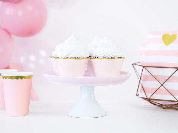 Caissettes pour cupcakes rose et doré x6