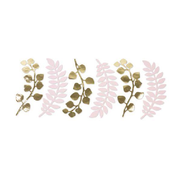 Feuilles de fougères et eucalyptus rose poudré et or 30 cm x6