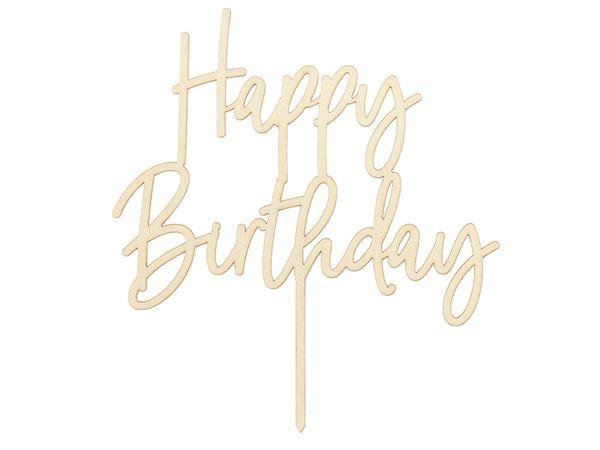 Cake topper en bois Habby Birthday - 16,5 cm