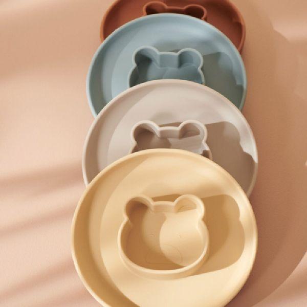 Lot de 2 assiettes en silicone Gordon - Mr Bear Yellow/Sandy - Liewood