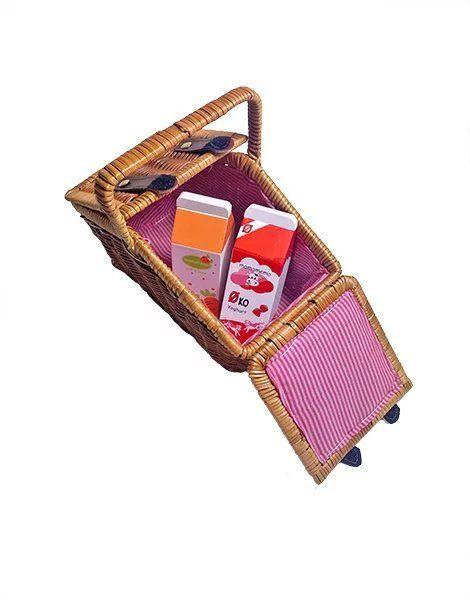 Panier picnic doublé en osier - Minikane