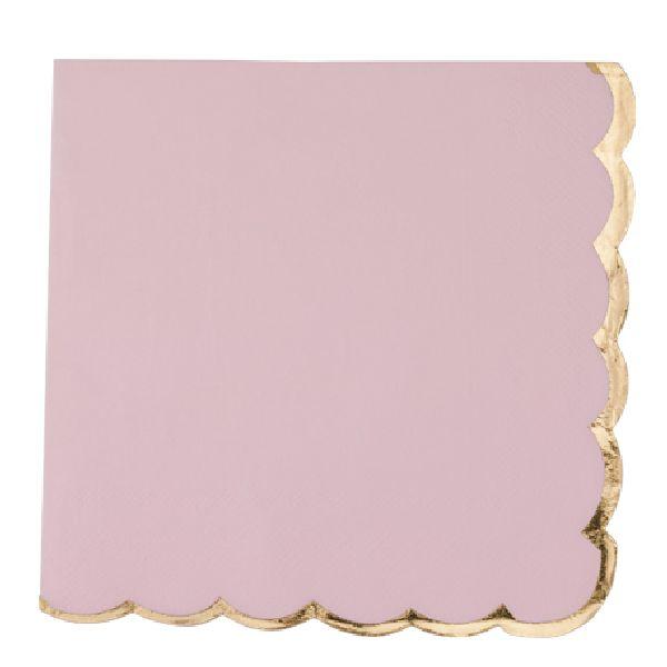 Serviettes rose poudré liseré or x16 - 33 cm