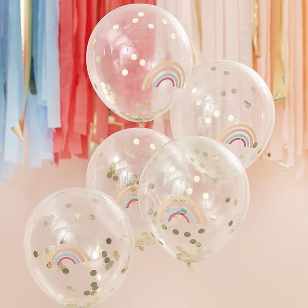 Ballons Rainbow à confettis dorés - Ginger Ray