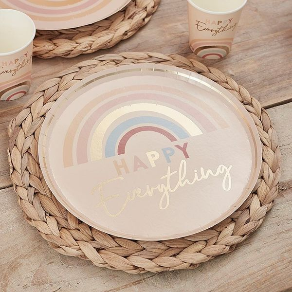 Assiettes Rainbow Happy everything x8 - Ginger Ray