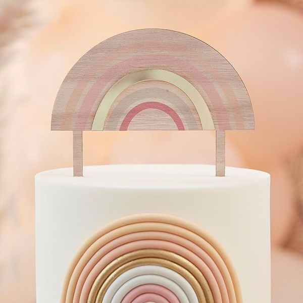 Cake topper en bois Rainbow Happy everything - Ginger Ray