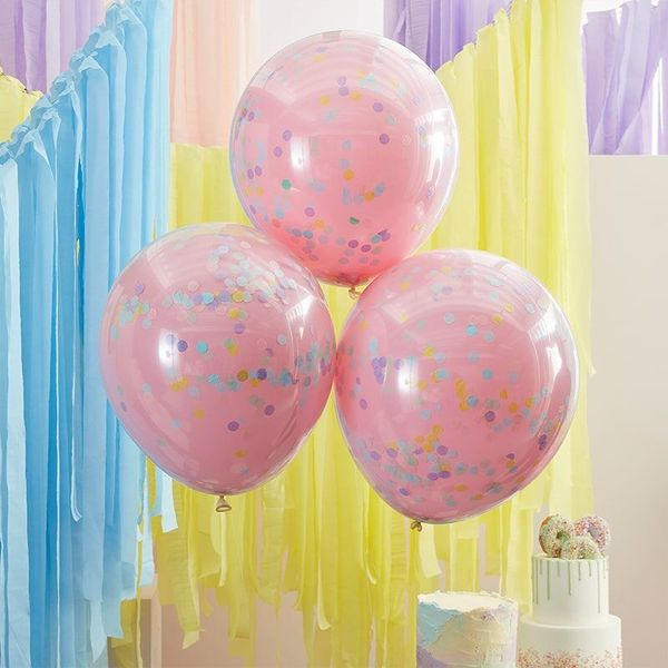 Grands ballons rose confettis Rainbow pastel x3 - 45 cm - Ginger Ray