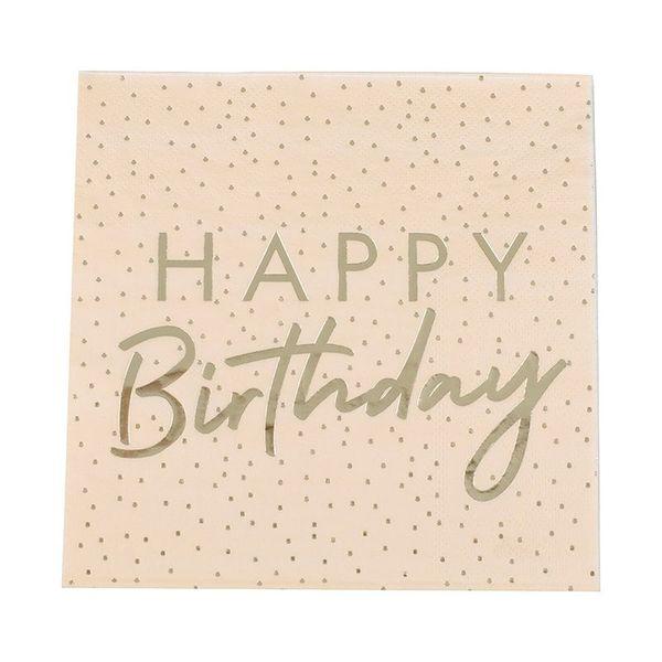 "Serviettes ""Happy Birthday"" pêche et pois dorés x16 - Ginger Ray"