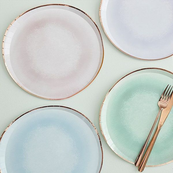 Assiettes aquarelle pastel & Rose gold x8 - Ginger Ray